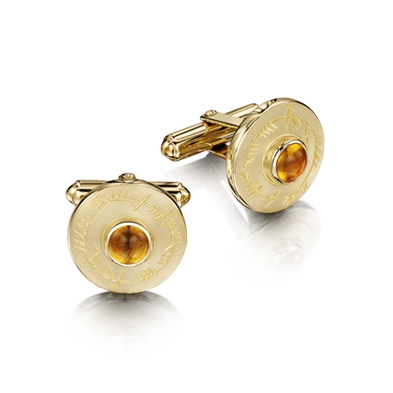 Ogham in Gold Cufflink