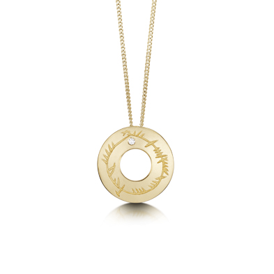 Ogham in Gold Pendant