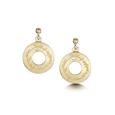 Ogham in Gold Earrings