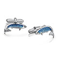Salmon Sterling Silver Cufflinks in Salmon Enamel