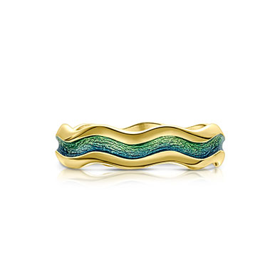 River Ripples in Gold Ring
