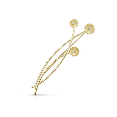 Primula Scotica in Gold Brooch