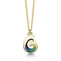 Wave 18ct Yellow Gold and Enamel Pendant