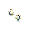 Wave 18ct Yellow Gold and Enamel Stud Earrings