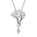 Arctic Stream Droplet Pendant in Sterling Silver