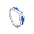 Saltire Enamel Ring with 4mm Cubic Zirconia
