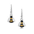 Bumblebee Enamel Drop Earrings in Sterling Silver