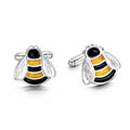 Bumblebee Enamel Cufflinks in Sterling Silver
